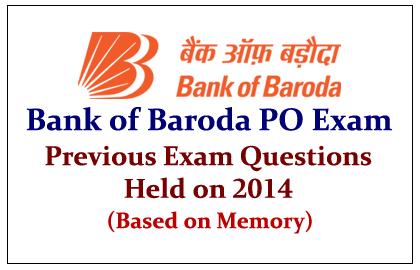 Bank of Baroda PO Exam- Previous Exam Questions