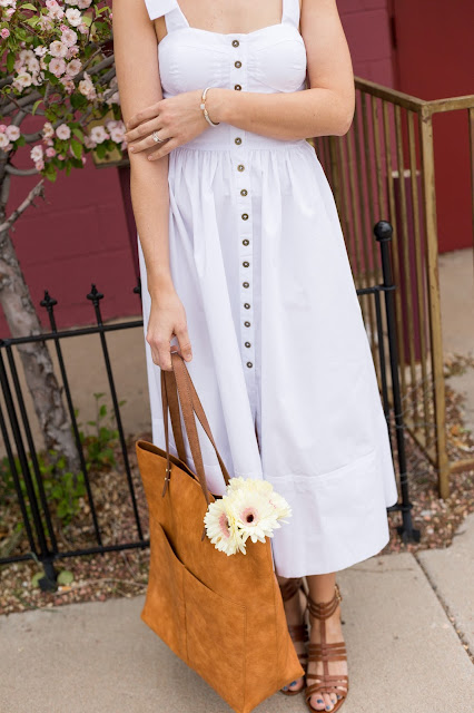 Button Front White Dress