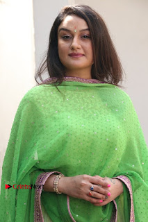 Actress Sonia Agarwal Stills in Green Anarkali Dress at Agalya Tamil Movie Launch  0002.jpg