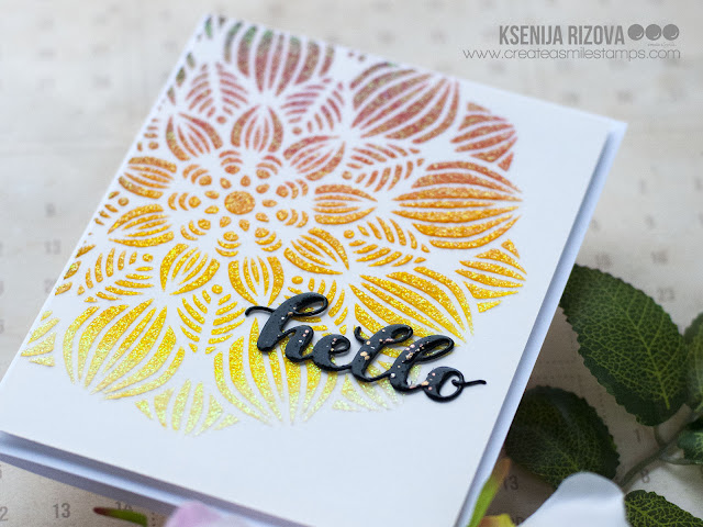 No Stamps Festive Card with Create A Smile Blossom Stencil
