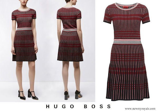 Infanta Sofia wore Hugo Boss Patterned Slim-Fit Dress In Style Suzetta