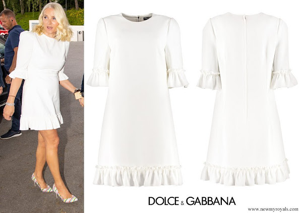 Crown Princess Mette-Marit wore a new ruffled cady mini dress by Dolce & Gabbana