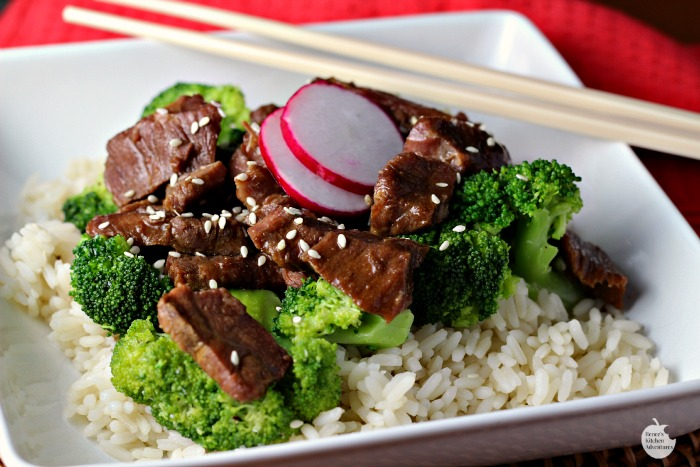 Slow Cooker Beef and Broccoli | by Renee's Kitchen Adventures sitting on white plate
