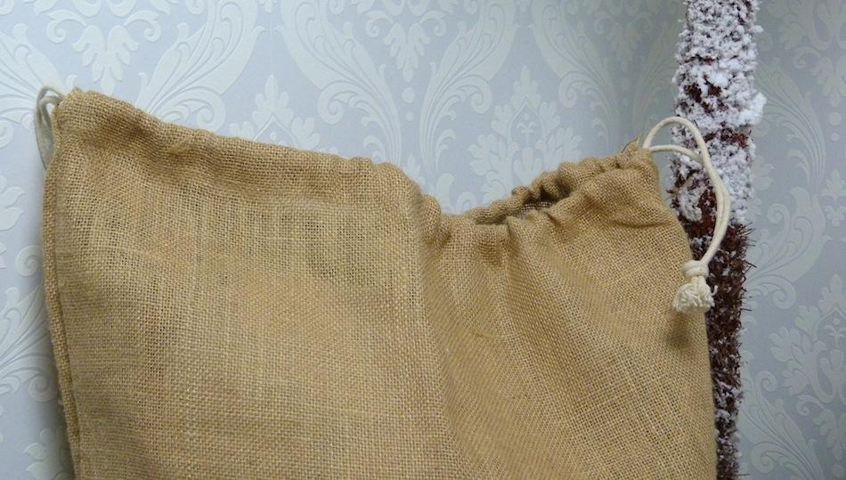 an image of personalised hessian christmas sack