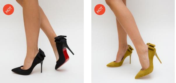 Pantofi eleganti cu toc din piele eco intoarsa negri, galbeni cu funda