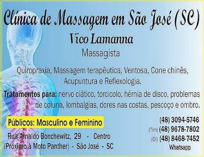 Massagista em São José SC - Clínica de Acupuntura, Massagem Terapêutica, Massoterapia e Quiropraxia (ajuste de coluna e vértebras) - Atendimento de 2ª à Sábado com hora marcada
