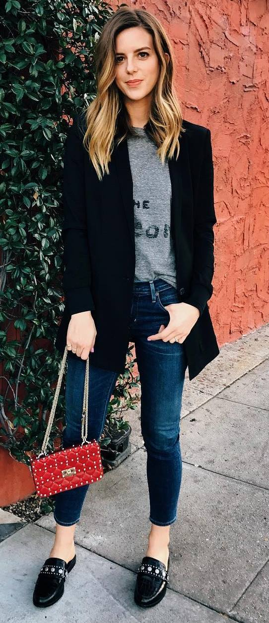 what to wear with a jacket: shirt + jeans + red bag + top