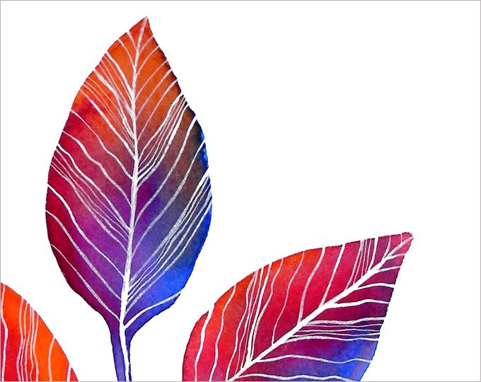 акварель графика анабель anabel27art лист осень яркий