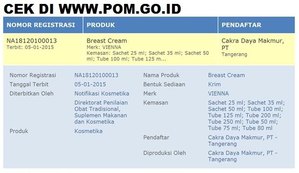 Nomer BPOM Vienna Breast Cream Original POM NA 18120100013