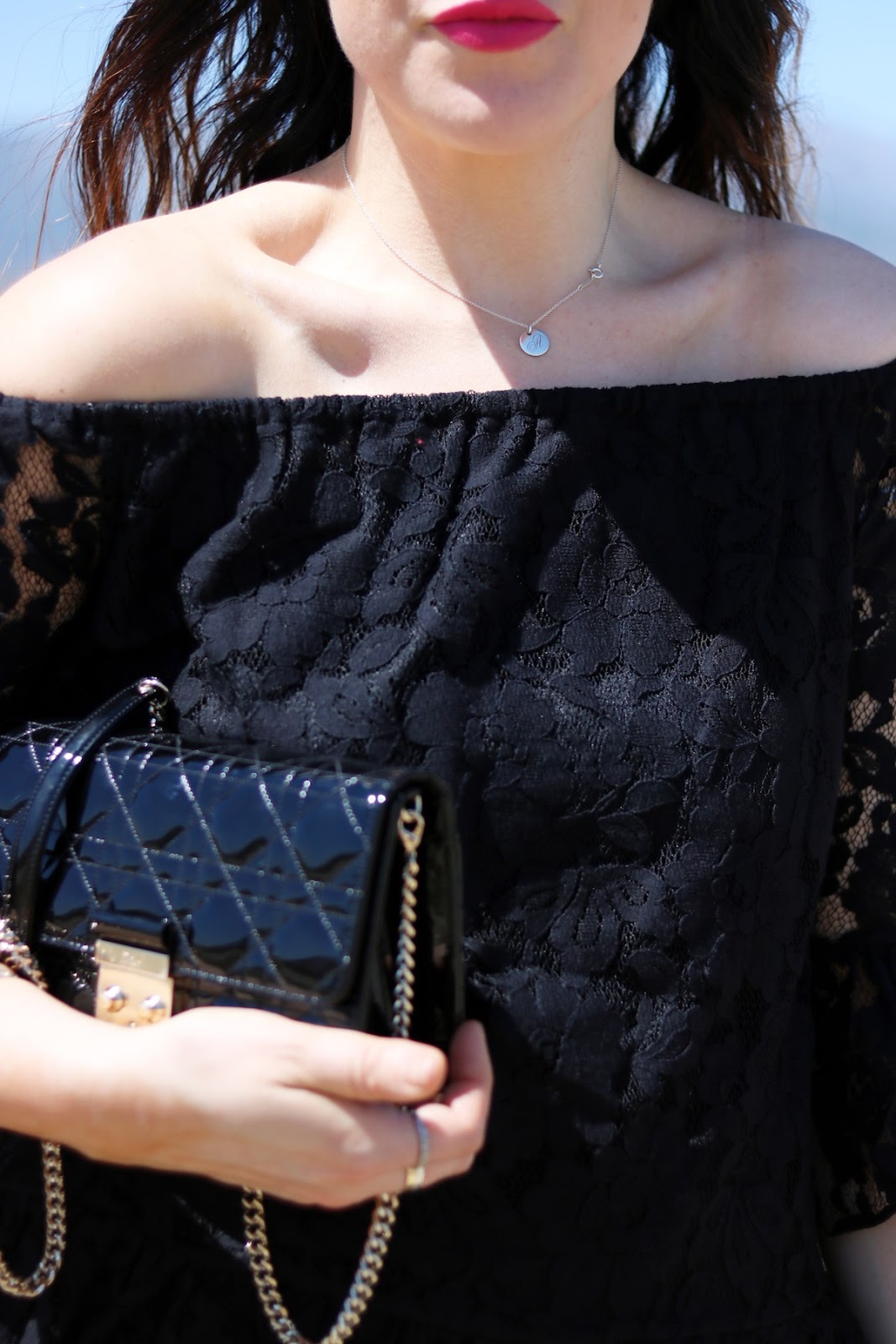 Le Chateau lace off the shoulder top vancouver blogger outfit palm springs Dior Promenade bag