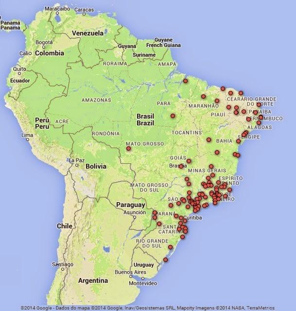 Cidades de origem dos poetas inscritos no 23º Concurso Nacional de Poesias Augusto dos Anjos.