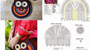 Cartera con diseño de búho al crochet