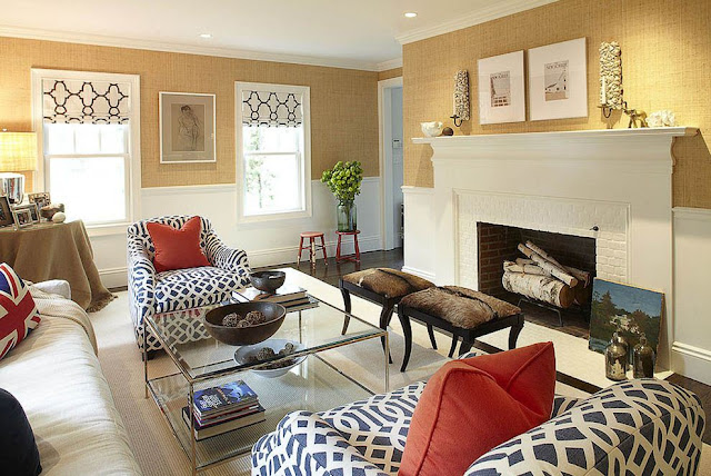 warm living room with graphic navy print
