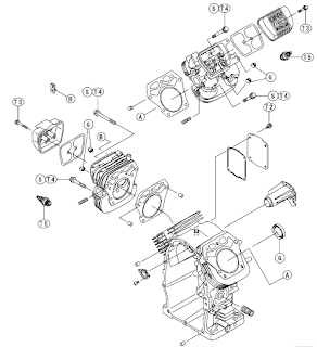 Kawasaki FH601D, FH641D and FH680D engine Exploded View