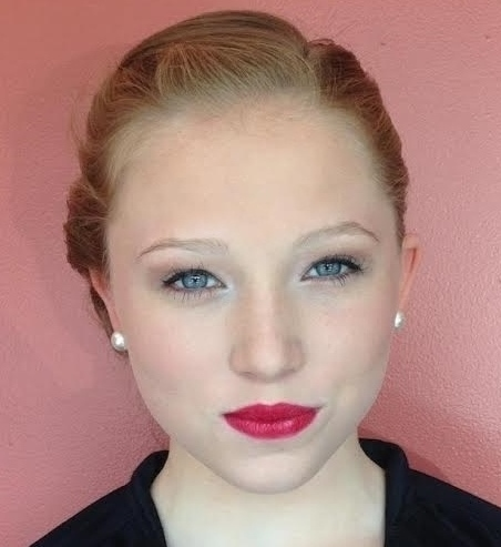 prom makeup with red lips