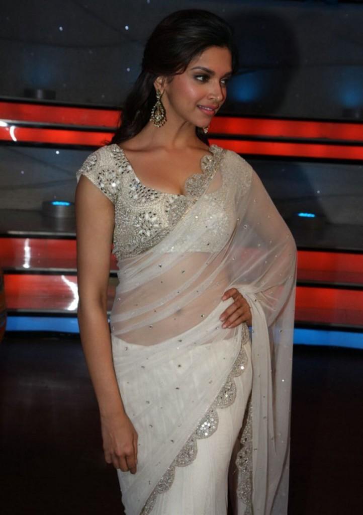 Deepika Padukone in white saree   electrihot