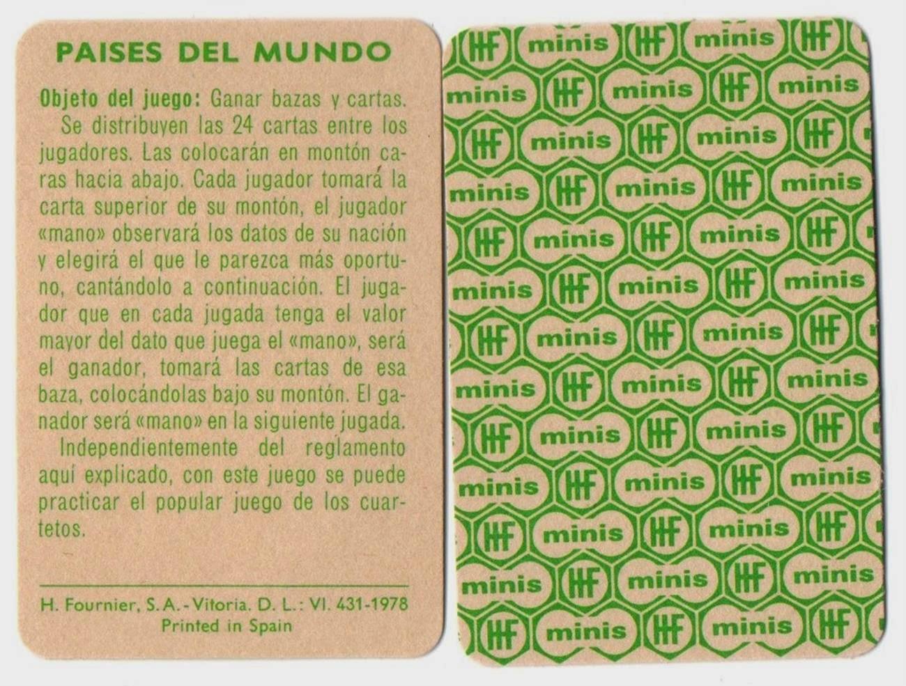 Barajas Y Naipes Paises Del Mundo Mini