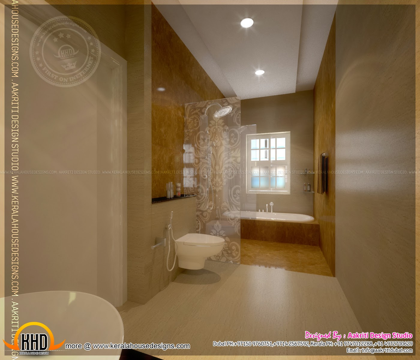 Master bedroom and bathroom interior design kerala home for Bathroom interior design dubai