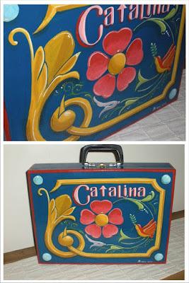 Filete porteño, valija de madera, Fileteado Stz
