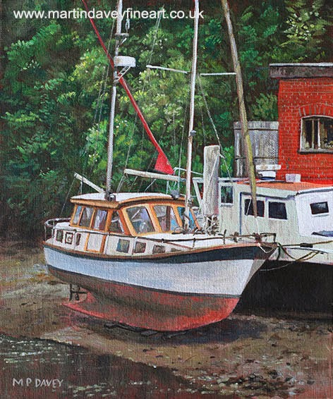 Two boats on Eling Mudflats-acrylic painting