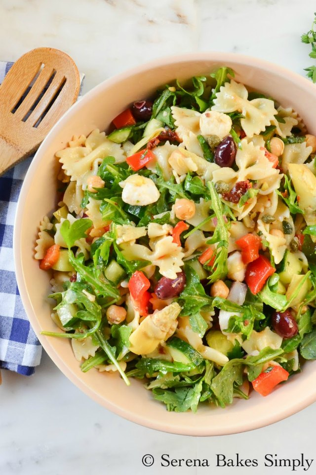 Mediterranean Pasta Salad recipe is filled9 with artichoke hearts, capers, and sundries tomatoes from Serena Bakes Simply From Scratch.