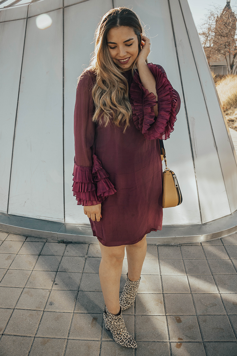 marchesa dress in wine, marchesa dress, sheer dress