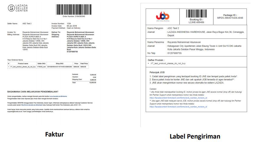 Proses pengiriman Lazada Menggunakan JNE Online Booking