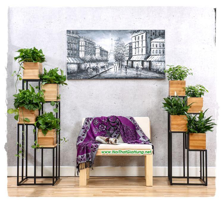 Kệ trang trí khung sắt hộp gỗ GHK 208 đẹp ơi là đẹp