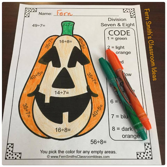 Halloween Fun Color By Number Multiplication and Division Bundle at TeachersPayTeacher. #FernSmithsClassroomIdeas