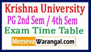 Krishna University PG 2nd Sem / 4th Sem April 2017 Exam Time Table