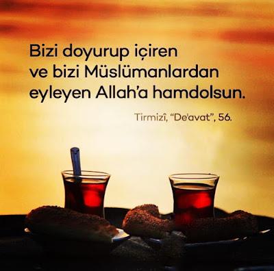 çay, simit, güneş, şafak vakti, gökyüzü, doymak, içmek, müslüman, hamd, elhamdülillah, hz Muhammed, hadis, hadis-i şerif