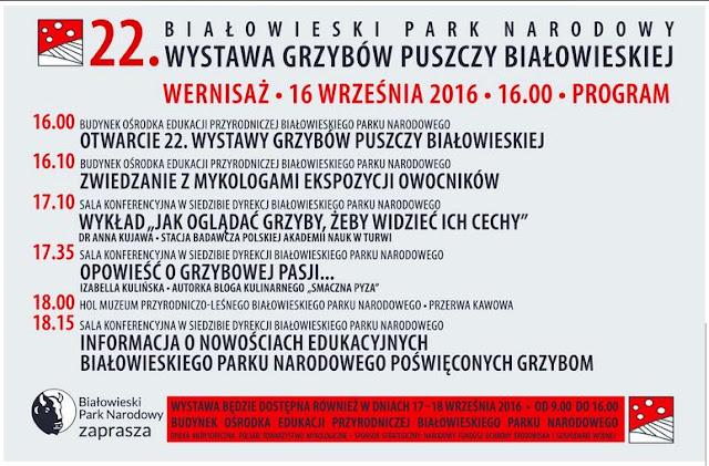 białowieski park narodowy, wystawa grzybów, wernisaż, moja grzybowa pasja, wykład, grzybnięta blogerka, zaproszenie, białowieża