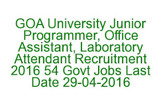 GOA University Junior Programmer, Office Assistant, Laboratory Attendant Recruitment 2016 54 Govt Jobs Last date 29-04-2016