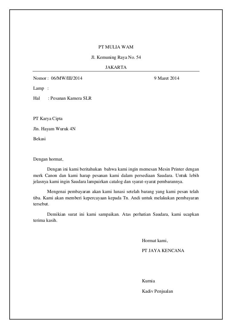 Contoh Surat Full Block Style Pesanan Barang