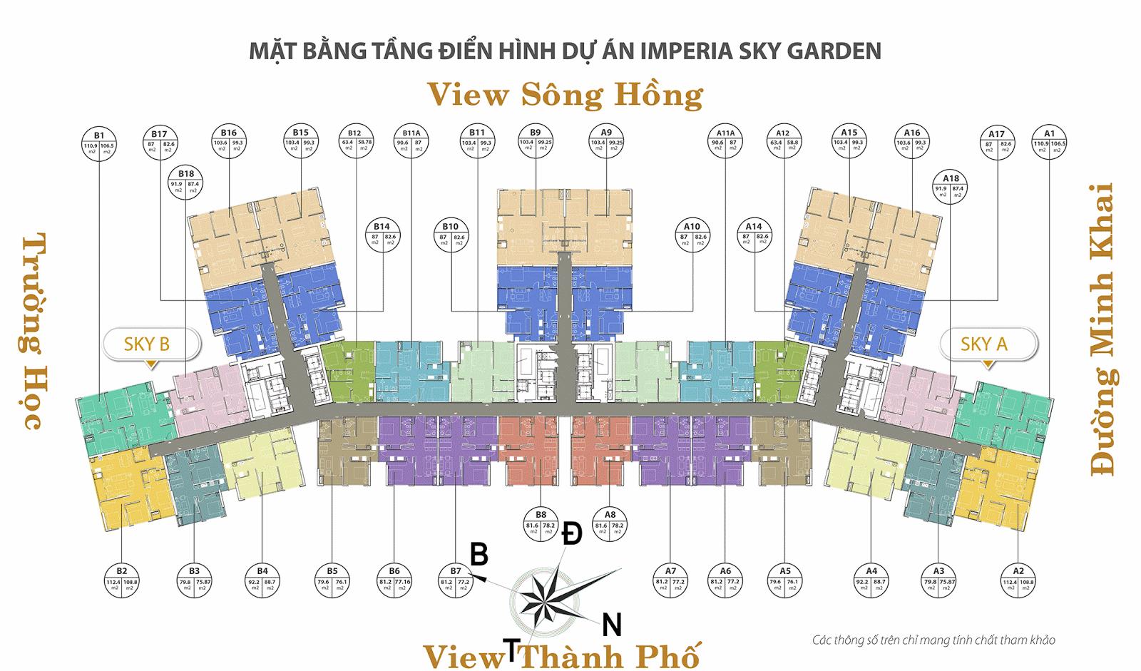 Mặt bằng điển hình tầng dự án chung cư Imperia Sky Garden 423 Minh Khai