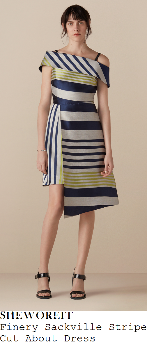 helen-skelton-finery-sackville-stripe-midnight-blue-silver-grey-and-lime-green-mixed-stripe-print-jacquard-off-the-shoulder-bardot-neckline-high-waisted-asymmetric-wrap-dress