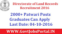 Directorate of Land Records Recruitment 2016 for 2000+ Patwari Posts Apply Online Here