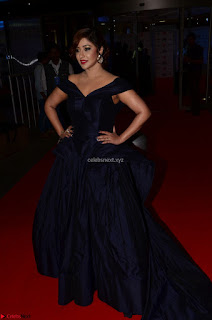 Payal Ghosh aka Harika in Dark Blue Deep Neck Sleeveless Gown at 64th Jio Filmfare Awards South - 17th Jun 2017~ CelebsNext Exclusive