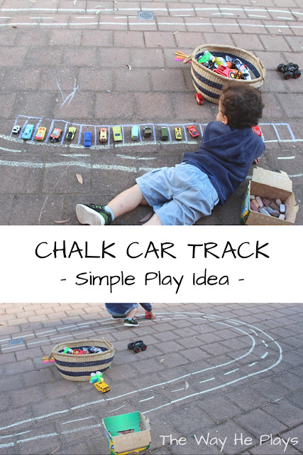 Chalk car track collage picture