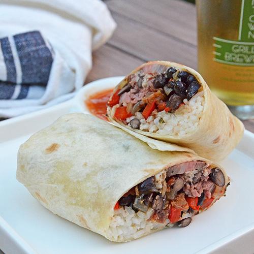 recipe for steak, black bean, and rice burritos