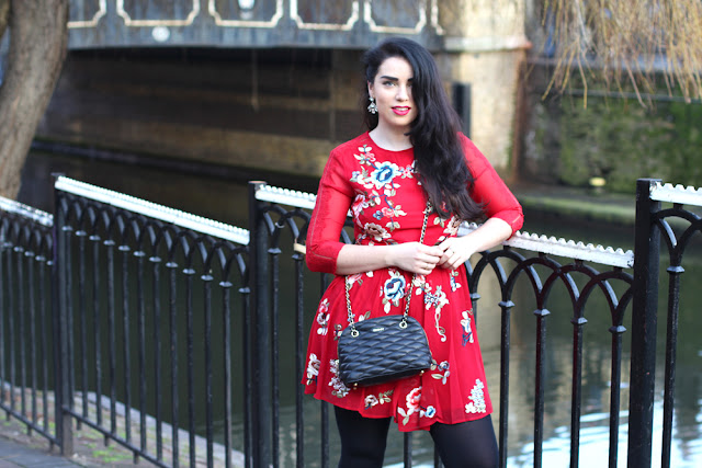 Emma Louise Layla in red ASOS dress in Camden - London fashion blog