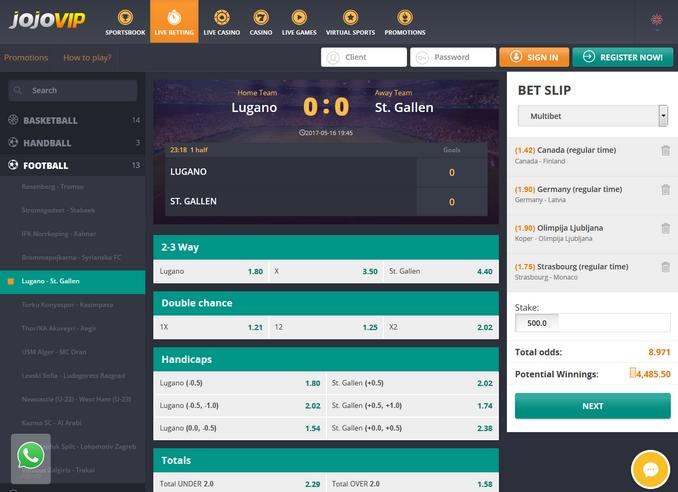 Jojovip Live Betting Screen