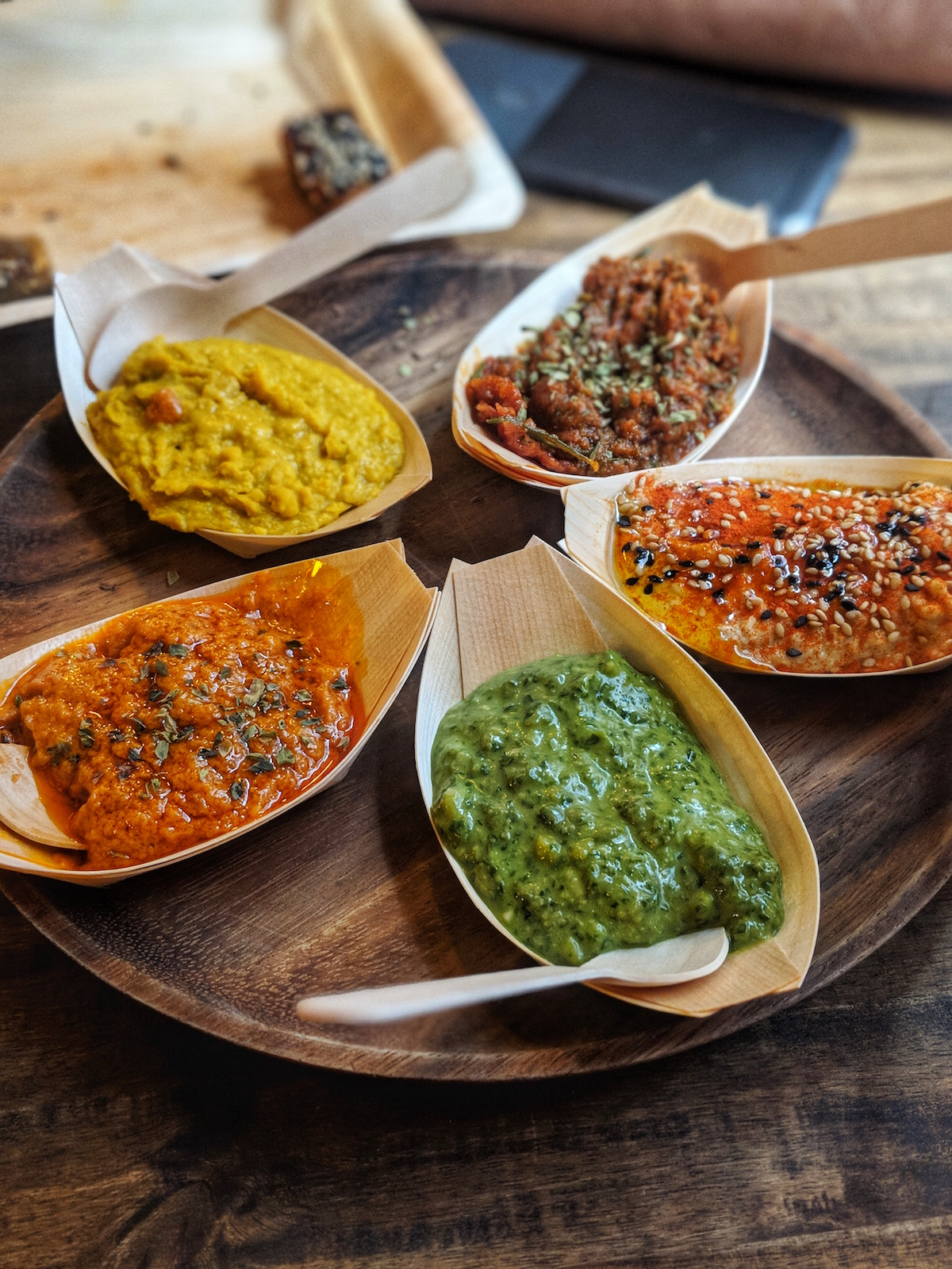 Selection of colourful dips from  BarCeloneta Sangria Bar