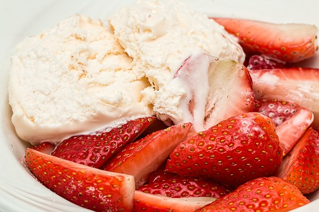 Strawberries and Vanilla Ice Cream