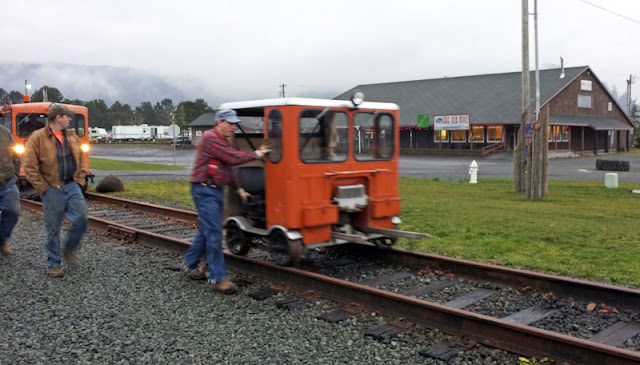 A small orange speeder in Wheeler, Oregon