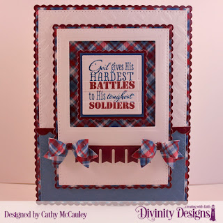 Divinity Designs Stamp Set: Remembrance, Paper Collection: Old Glory, Mixed Media Stencil: Circles, Custom Dies: Pierced Rectangles, Scalloped Rectangles, Scalloped Squares, Squares, Bitty Borders, Small Bow