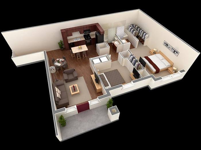 2 yatak prefabrik ev planları