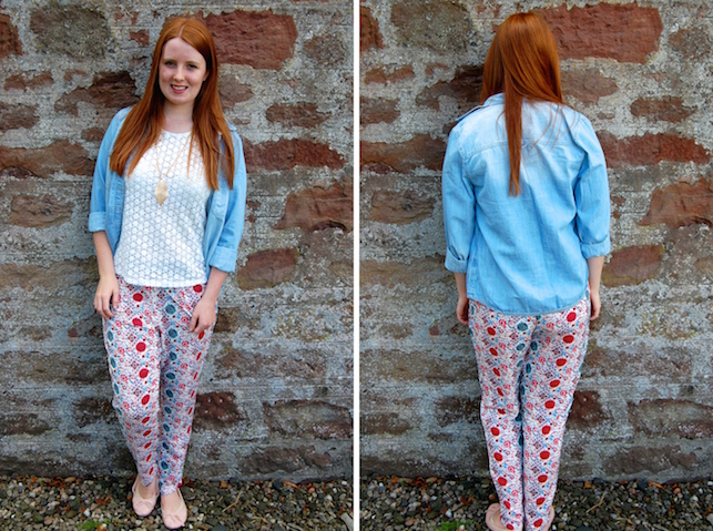 G Is For Gingers Patterned Joggers And A Denim Shirt Magnificent Patterned Joggers