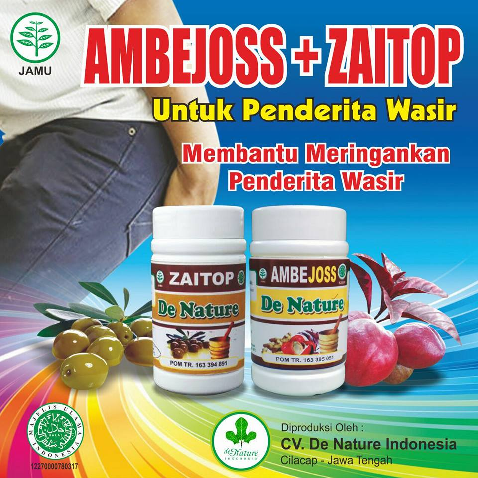 Obat Benjolan Wasir / Ambeien / Hemoroid Kapsul Ambejoss dan Zaitop