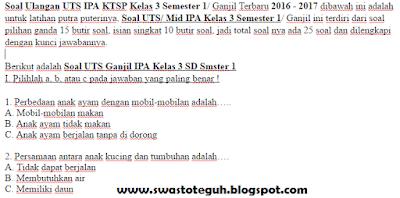 Soal Ulangan UTS IPA KTSP Kelas 3 Semester 1/ Ganjil Terbaru 2016 - 2017